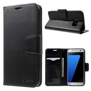Rich PU kožené pouzdro na Samsung Galaxy S7 edge - černé - 1