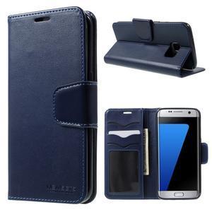 Rich PU kožené pouzdro na Samsung Galaxy S7 edge - tmavěmodré - 1