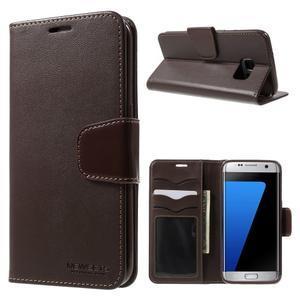 Rich PU kožené pouzdro na Samsung Galaxy S7 edge - hnědé - 1