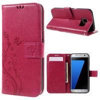 Butterfly PU kožené pouzdro na Samsung Galaxy S7 edge - rose - 1/7