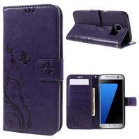 Butterfly PU kožené pouzdro na Samsung Galaxy S7 edge - fialové - 1/7