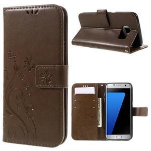 Butterfly PU kožené pouzdro na Samsung Galaxy S7 edge - coffee - 1