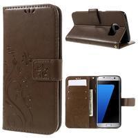 Butterfly PU kožené pouzdro na Samsung Galaxy S7 edge - coffee - 1/7