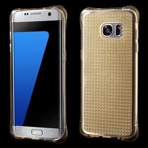 Glitter gelový obal na Samsung Galaxy S7 edge - zlatý - 1