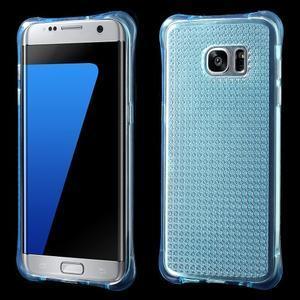 Glitter gelový obal na Samsung Galaxy S7 edge - modrý - 1