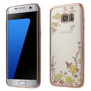 Nice gelový obal s kamínky na Samsung Galaxy S7 edge - žluté květiny - 1