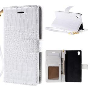 Bílé PU kožené pouzdro aligátor pro Sony Xperia M4 Aqua - 1