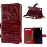 Tmavě červené PU kožené pouzdro aligátor pro Sony Xperia M4 Aqua - 1/7