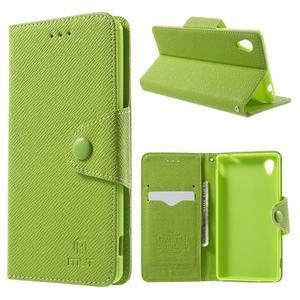 Zelené PU kožené peněženkové pouzdro na Sony Xperia M4 Aqua - 1