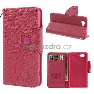 Peněženkové PU kožené pouzdro na Sony Xperia Z1 Compact - rose - 1