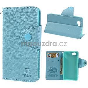 Peněženkové PU kožené pouzdro na Sony Xperia Z1 Compact - modré - 1