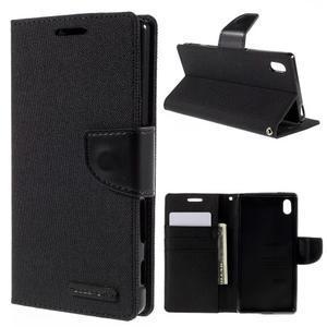 Canvas PU kožené/textilní pouzdro na Sony Xperia Z5 - černé - 1
