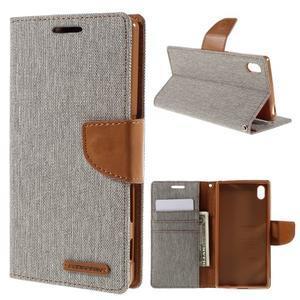 Canvas PU kožené/textilní pouzdro na Sony Xperia Z5 - šedé - 1