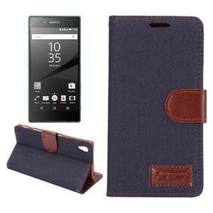 Jeans peněženkové pouzdro Sony Xperia Z5 - černomodré - 1