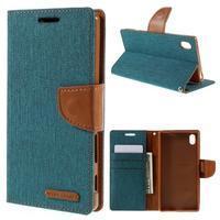 Canvas PU kožené/textilní pouzdro na Sony Xperia Z5 - zelené - 1/7