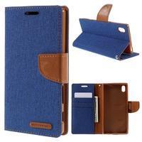 Canvas PU kožené/textilní pouzdro na Sony Xperia Z5 - modré - 1/7