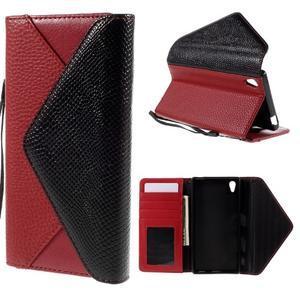Stylové peněženkové pouzdro Sony Xperia Z5 - červené - 1