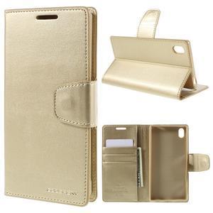 Sonata PU kožené peněženkové pouzdro na Sony Xperia Z5 - zlaté - 1