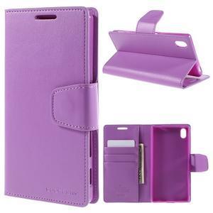 Sonata PU kožené peněženkové pouzdro na Sony Xperia Z5 - fialové - 1