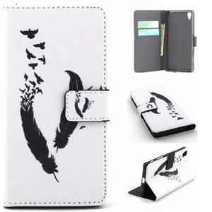 Cross peněženkové pouzdro na Sony Xperia Z5 - ptačí peříčka - 1