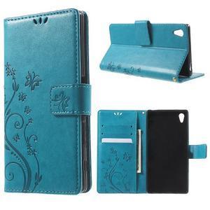 Butterfly PU kožené pouzdro na Sony Xperia Z5 - modré - 1
