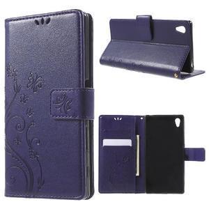 Butterfly PU kožené pouzdro na Sony Xperia Z5 - fialové - 1