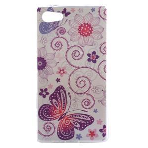 Gelový obal na mobil Sony Xperia Z5 Compact - květiny a motýl - 1