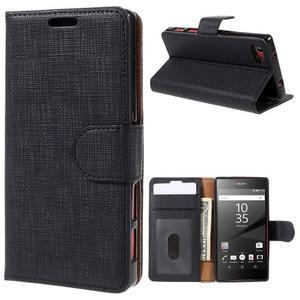 Grid peněženkové pouzdro na mobil Sony Xperia Z5 Compact - černé - 1
