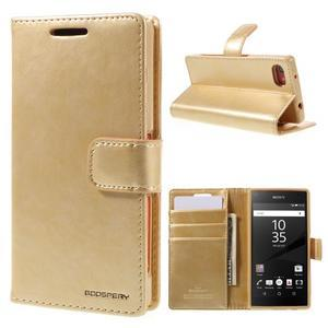 Bluemoon PU kožené pouzdro na Sony Xperia Z5 Compact - zlaté - 1
