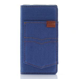 Stylové jeans pouzdro na mobil Sony Xperia Z5 Compact - modré - 1