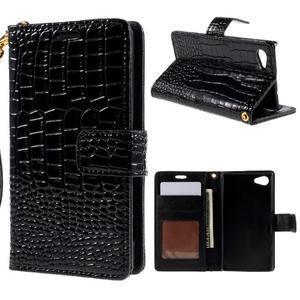 Croco peněženkové pouzdro na Sony Xperia Z5 Compact - černé - 1