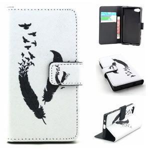Peněženkové pouzdro na mobil Sony Xperia Z5 Compact - ptačí peříčka - 1