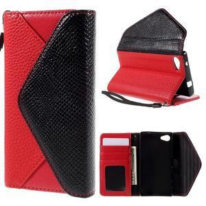 Stylové peněženkové pouzdro na Sony Xperia Z5 Compact - červené - 1