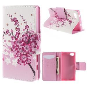 Diary peněženkové pouzdro na Sony Xperia Z5 Compact - květoucí větvička - 1