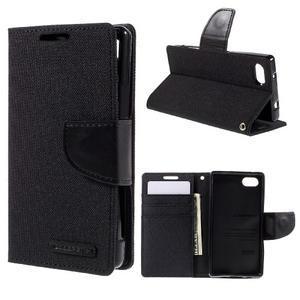 Canvas PU kožené/textilní pouzdro na Sony Xperia Z5 Compact - černé - 1