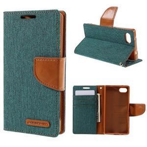 Canvas PU kožené/textilní pouzdro na Sony Xperia Z5 Compact - zelené - 1