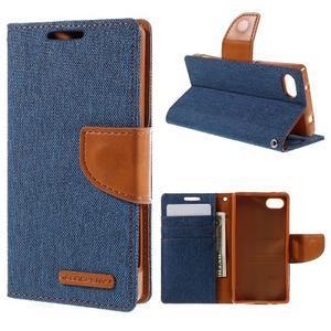 Canvas PU kožené/textilní pouzdro na Sony Xperia Z5 Compact - modré - 1