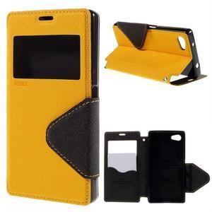 Pouzdro s okýnkem na Sony Xperia Z5 Compact - žluté - 1