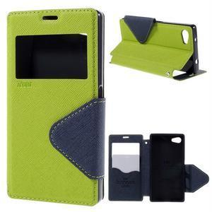Pouzdro s okýnkem na Sony Xperia Z5 Compact - zelené - 1