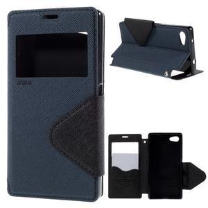 Pouzdro s okýnkem na Sony Xperia Z5 Compact - tmavěmodré - 1