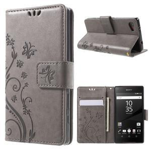 Butterfly peněženkové pouzdro na Sony Xperia Z5 Compact - šedé - 1