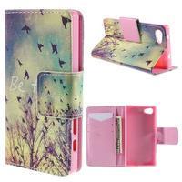 Diary peněženkové pouzdro na Sony Xperia Z5 Compact - ptáčci - 1/7