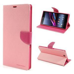 Peněženkové PU kožené pouzdro na Sony Z Ultra - růžové - 1
