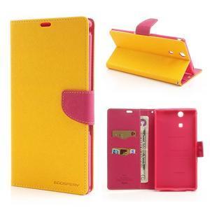 Peněženkové PU kožené pouzdro na Sony Z Ultra - žluté - 1