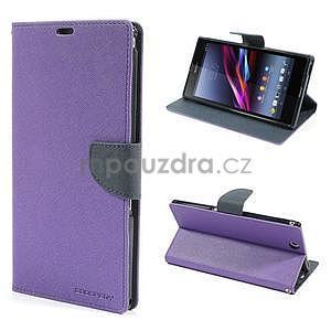 Peněženkové PU kožené pouzdro na Sony Z Ultra - fialové - 1