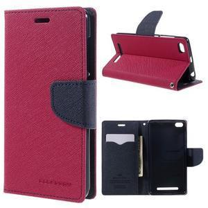 Diary PU kožené pouzdro na mobil Xiaomi Redmi 3 - rose - 1