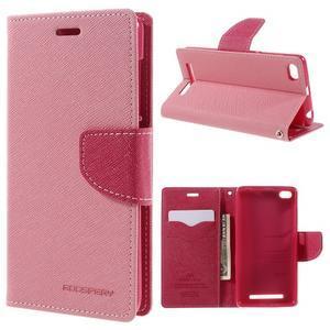 Diary PU kožené pouzdro na mobil Xiaomi Redmi 3 - růžové - 1