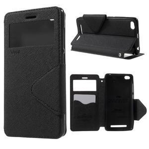 Diary view peněženkové pouzdro na Xiaomi Redmi 3 - černé - 1