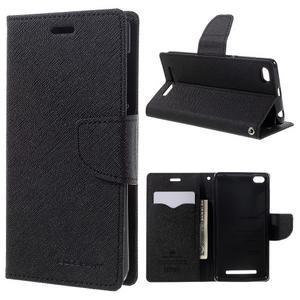Diary PU kožené pouzdro na mobil Xiaomi Redmi 3 - černé - 1