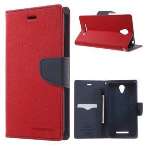 Goos PU kožené pouzdro na Xiaomi Redmi Note 2 - červené - 1